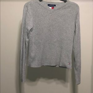 Tommy Hilfiger Grey Sweater Large Cropped